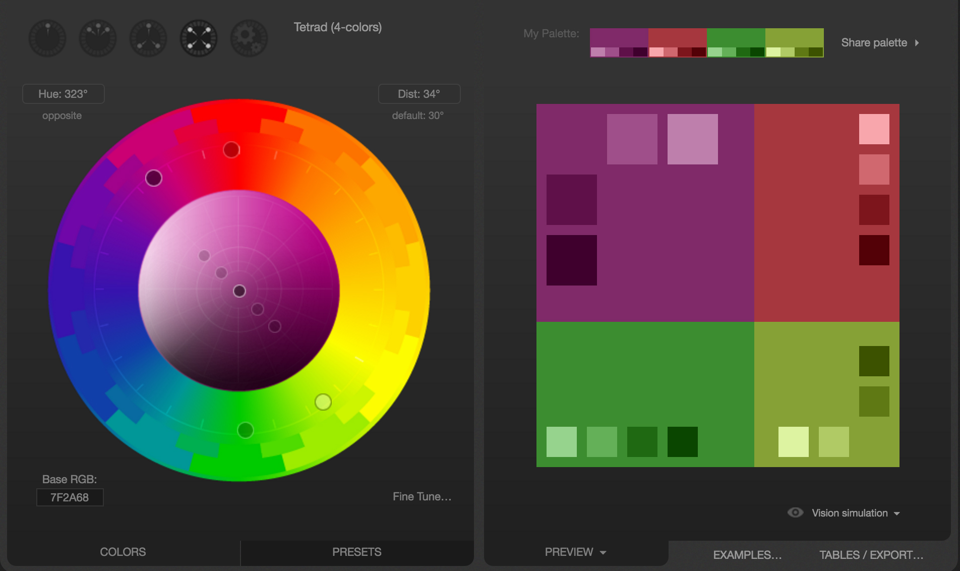 Web colors w3schools - An Example Split Complimentary Palette Generated On The Paletton Website
