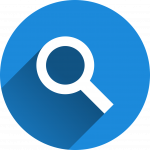 magnifying glass icon. link to research